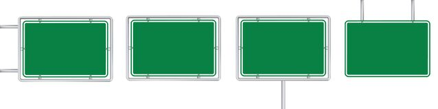 Free Set Of 4 Blank Green Road Sign Isolated On White Background Stock Photos - 172582713