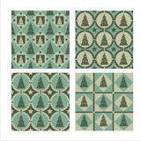 Set Of 4 Christmas Tree Patterns Stock Photos