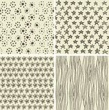 Set Of 4 Doodle Seamless Patterns Royalty Free Stock Images