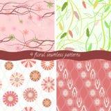 Set Of 4 Floral Patterns Stock Image