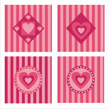 Set Of 4 Hearts Backgrounds Stock Image