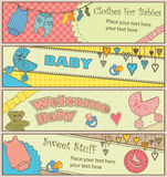 Set Of 4 Horizontal Baby Themed Banners Stock Photos