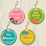 Set Of 4 Retro Autumn Tags. Royalty Free Stock Photography