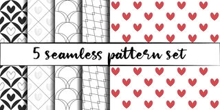 Free Set Of 5 Simple Ornament Vector Seamless Patterns. Use For Ceramic Tiles, Wallpaper, Linoleum, Textiles, Wrapping Paper, Web Page Stock Images - 172602454