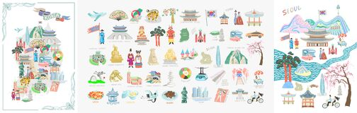Free Set Of 50 Doodle Vector Illustration - Sights Of South Korea Travel Collection Royalty Free Stock Photography - 171568897