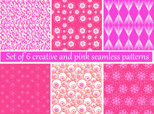 Free Set Of 6 Creative And Pink Seamless Patterns Royalty Free Stock Photo - 80315725