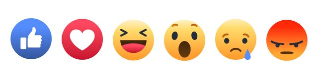 Free Set Of 6 Facebook Emoticons. Vector Emoji Reactions On An Isolated Background. Stock Illustration EPS 10 Stock Photos - 220747693