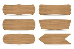 Set Of 6 Shapes Wooden Sign Boards Royalty Free Stock Images