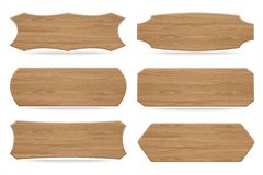 Set Of 6 Shapes Wooden Sign Boards Royalty Free Stock Image