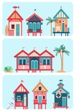 Set Of 7 Various Multicolored Beach Huts. Royalty Free Stock Image