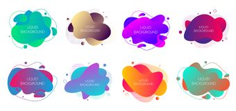 Set Of 8 Abstract Modern Graphic Liquid Elements. Dynamical Waves Different Colored Fluid Forms. Isolated Banners With Flowing Royalty Free Stock Photo