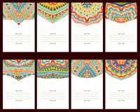 Set Of 8 Cards With Oriental Ornaments Royalty Free Stock Photo