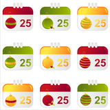 Set Of 9 Christmas Calendar Icons Stock Photo