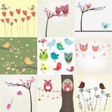 Set Of 9 Valentines Cards With Cute Birds Royalty Free Stock Image