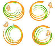 Free Set Of A Green Waves With Orange Butter Stock Photos - 19302373