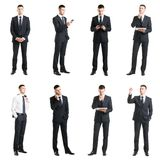 Set Of A Young Handsome Businessman Isolated On White. Stock Photos