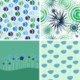Set Of Abstract Backgrounds. Green And Blue Royalty Free Stock Photo