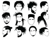 Free Set Of Afro Hairstyles For Men. Collection Of Dreads And Afro Braids For Men. Black And White Illustration For A Stock Photo - 159254060