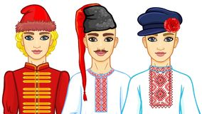 Free Set Of Animation Portraits Of Slavic Men In Traditional Clothes. Belarus, Ukraine, Russia. Stock Photo - 122962630