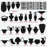 Set Of Antique Greek Vases And Border Decoration Seamless Patterns Royalty Free Stock Photo