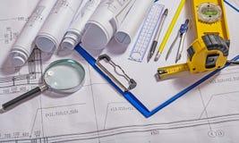 Set Of Architect Tools On Blueprint Royalty Free Stock Photo