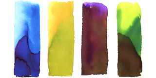 Free Set Of Art Painted Abstract Backgrounds, Gradient Rectangles, Blue, Yellow, Green, Violet. Multicolor Design, Banner Stock Image - 145297111