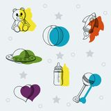 Set Of Baby Toys Doodles Royalty Free Stock Photography