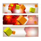 Set Of Banners With 3d Geometrical Elements. Royalty Free Stock Photo