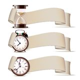 Set Of Banners With Clocks. Stock Photography