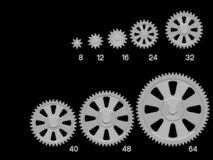 Free Set Of Basic Gear 8 To 64 Teeth. All Gears Can Be Assembled Perfectly Stock Photo - 197479460
