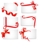 Set Of Beautiful Cards With Red Gift Bows Stock Photography