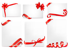 Set Of Beautiful Cards With Red Gift Bows With Rib Royalty Free Stock Images