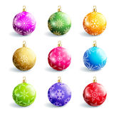 Set Of Beautiful Colorful Christmas Balls Stock Image