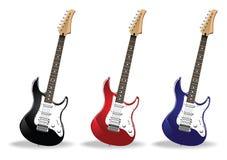 Set Of Beautiful Realistic Guitars Stock Image