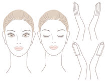 Set Of Beautiful Woman Head And Hands Royalty Free Stock Photos
