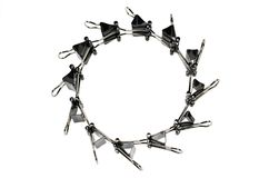 Set Of Binder Clips For Paper. Concept Circle Composition Royalty Free Stock Photo