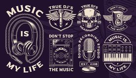Free Set Of Black And White Designs Of Dj Theme. Royalty Free Stock Photo - 133505645