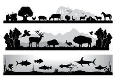 Free Set Of Black And White Landscapes Wildlife, Farm, Marine Life Stock Photography - 52315892