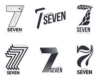 Set Of Black And White Number Seven Logo Templates Royalty Free Stock Image