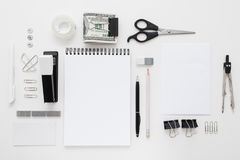 Set Of Black And White Office Supplies Flat Lay Royalty Free Stock Image