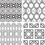 Set Of Black And White Seamless Pattern Stock Photography