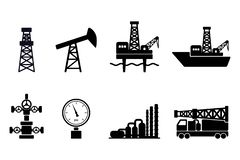 Free Set Of Black Flat Vector Oil And Gas Icons: Onshore And Offshore Drilling Signs, Drilling Rig, Sucker Rod Pump, Gas Processing Royalty Free Stock Photos - 137606858
