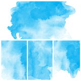 Set Of Blue Abstract Water Color Art Paint Stock Photo