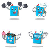 Set Of Blue Book Character With Fitness Sailor Ice Cream Diving Royalty Free Stock Photos