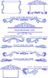 Set Of Blue Calligraphic Design Elements Stock Photography