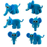 Set Of Blue Elephant Made From Plasticine Royalty Free Stock Images