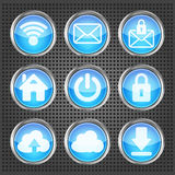 Set Of Blue Web Icons Stock Photos
