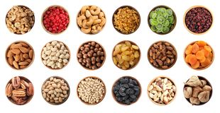 Free Set Of Bowls With Healthy Dried Fruits And Tasty Nuts On White Background Royalty Free Stock Photos - 138813028