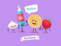 Set Of Breakfast Characters. Vector Cute Cartoons Royalty Free Stock Photos