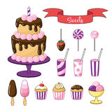 Set Of Bright Sweets And Objects. Cake With Chocolate Icing, Small Cakes And Ice Cream. Royalty Free Stock Photography